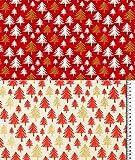Fabrics-City 2M Weihnachten Glitzer Bedruckt Weihnachtsbaum
