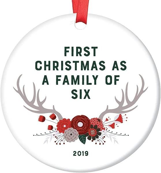 新的婴儿礼物 2019 装饰日期第一个圣诞节作为一个家庭的六个节日纪念品父母妈妈爸爸兄弟姐妹礼物淋浴洒木质波西米亚花鹿鹿角光泽 3 平圈红丝带