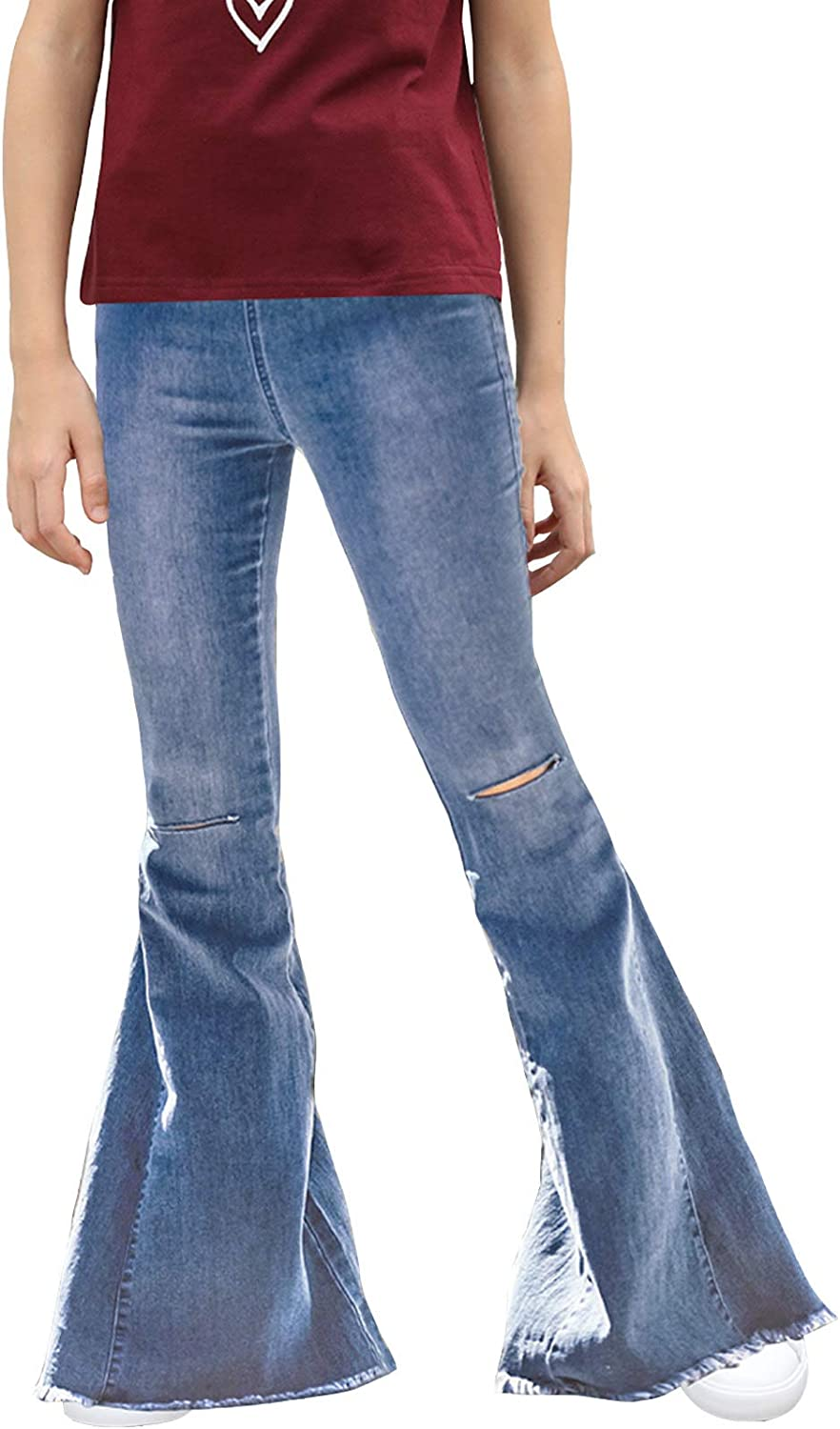 Sidefeel Girls Ripped Flare Jeans Don't miss the campaign Waist Fitte Elastic High San Jose Mall