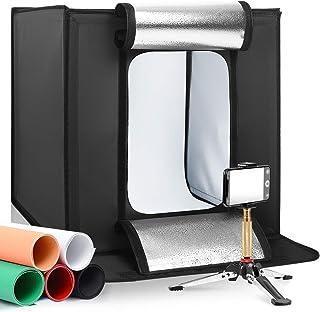 LOMTAP撮影ボックス 50x50x50cm 撮影スタジオ 撮影キット写真照明キット プロスタジオ 背景スクリーン 5色 調整可能な明るさ5500K 連続照明LEDライトポータブル折りたたみ 携帯型 組立簡単 収納便利 小物撮影用