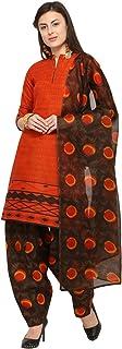 Rajnandini Orange Cotton Salwar Suit For Women (Ready To Wear)(One Size)