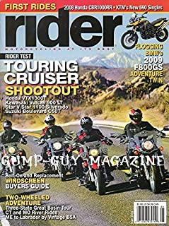 Rider Magazine May 2008 TOURING CRUISER SHOOTOUT: HONDA VTX1300T, KAWASAKI VULCAN 900 LT, STAR V STAR 1100 SILVERADO, SUZUKI BOULEVARD C50T Bolt-On Replacement Windscreen Buyers Guide FIRST RIDES