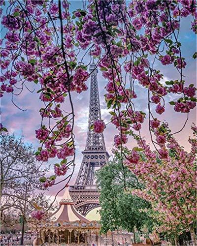 YEESAM ART DIY Ölgemälde Malen nach Zahlen Erwachsene Kinder, Romantischer Paris-Eiffelturm Kirschblüte Baum Landschaft Zahlenmalerei ab 5 Öl Wandkunst (Eiffelturm, mit Rahmen)