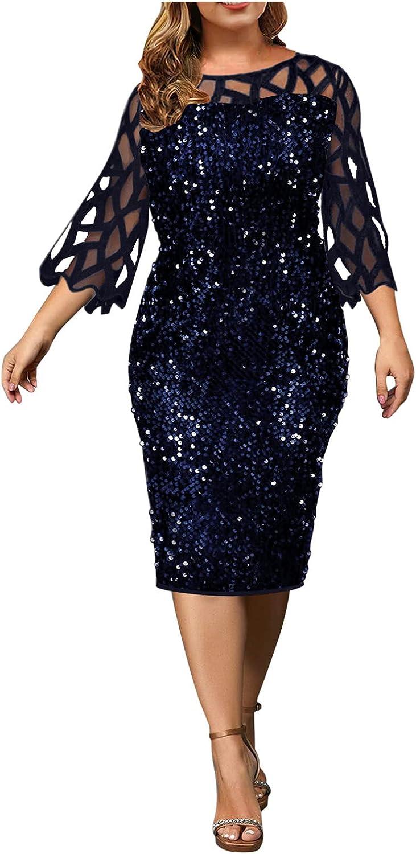Women Plus Size Glitter Bodycon Dress Mesh Long Sleeve Sexy Sequin Cocktail Party Club Mini Dress Elegant Formal Dress