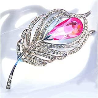 Scarf Pin Crystal Feather Brooch Bridal Glittery Brooch for Women's Gift (Rosy) (Color : Rosy, Size : 3x7.5cm)
