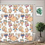 NYMB Funny Animals Pig Shower Curtain, Polyester Fabric Hipster Actions Pigs Dancing Ballet for Kids Shower Curtain Bathroom Fantastic Cartoon Bath Curtains Hooks Included, 69X70in