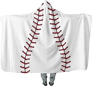Hibuyer Oversized Soccer Pattern Hooded Sherpa Blanket Soft Printed American Football Fans Cloak (White2)