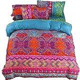 Juego de ropa de cama de 4 piezas Bohemian Exotic Boho Printed Mandala Funda de edredón con funda de almohada y sábana...