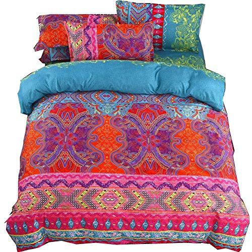 Juego de ropa de cama de 4 piezas Bohemian Exotic Boho Printed Mandala Funda de edredón con funda de almohada y sábana Microfibra con cierre de cremallera (Vistoso, 240×220cm (para cama de 150))