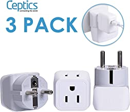 Schuko Germany, France Plug Adapter by Ceptics, Dual Input – Ultra Compact Light..