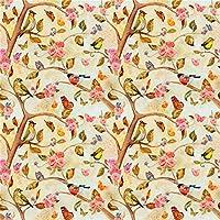 Qinunipoto 写真撮影用 背景布 和風 写真背景 黄色の背景 鳥 木の枝 チョウ 赤い花 撮影用 背景 布 花 撮影 写真 飾る 背景紙 誕生日 背景幕 布背景 生放送 無反射 小道具 撮影用背景紙 ビニール 1.8m x 1.8m