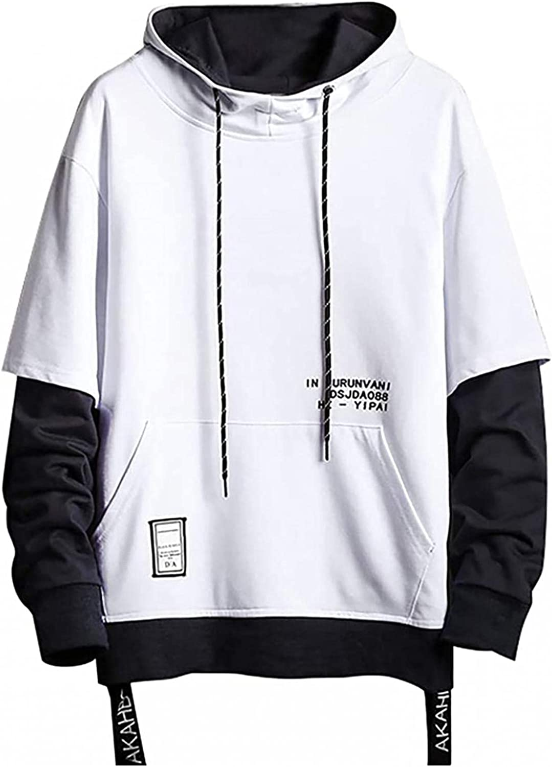 Men's Pullover Hooded Tops, Novelty Trendy Pullover Loose Casual Long Sleeve Fake 2 Pack Hooded Pullover Sweater