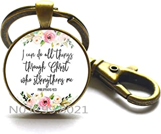 Jephne Philippians 4:13 I can do all things through Christ Bible Verse Keychain Key Ring Jewelry gifts of Christian Inspiration.XT133 (B)