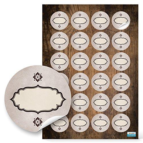 24 Stück runde Haushaltsetiketten blanko Aufkleber Etiketten zum Beschriften 4 cm oval beige braun natur vintage nostalgie selbstklebende Sticker f. Gewürze Gläser Gewürzetiketten leer beschreibbar