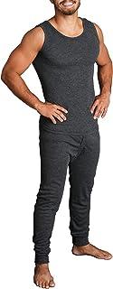 Boutique Retailer 2pcs Set Men's Merino Wool Sleeveless Singlet Top & Long Johns Pants Underwear Black