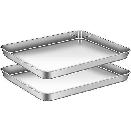 AEMIAO Acier Inoxydable Plaque à Pâtisserie Professionnel Plaque de Cuisson pour la Maison Cuisine Barbecue, Antiadhésive Sain Super Miroir Finition Lave-Vaisselle, Lot de 2, 40 x 30 x 2.5 cm