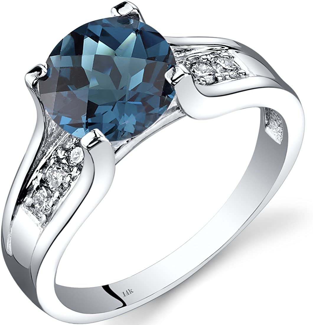 Peora London Blue Topaz and Diamond Ring in 14K White Gold, 2.25 Carats total, Cathedral Design, Round Shape Solitaire Engagement, Round Shape, 8mm, Comfort Fit, Sizes 5 to 9