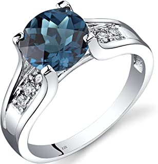 London Blue Topaz and Diamond Ring in 14K White Gold, 2.25 Carats total, Cathedral Design, Round Shape Solitaire Engagement, Round Shape, 8mm, Comfort Fit, Sizes 5 to 9