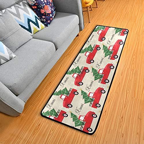 ALAZA Weihnachts-Teppichläufer für Flur, Weihnachts-LKW und Baum-Muster, 61 x 183 cm