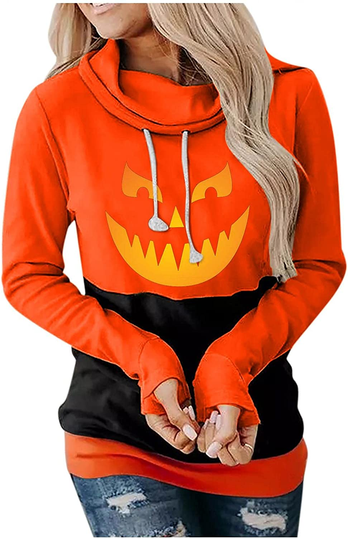 ONHUON Hoodies for Women,Women Tops Casual Halloween Pumpkin Printed Long Sleeve Drawstring Cowl Neck Pullover Sweatshirts