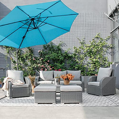 WeCooper 6PC Outdoor Rattan Furniture Set, Patio Wicker 7 Seats Sofa Set, Conservatory Garden Sofa, coffee table, Recliner, Ottoman, Gray