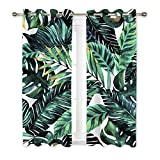 Ormis Tropical Palm Leaves Blackout Curtains 2 Panels for Bedroom,Light Blocking Draperies Room Darkening Thermal Insulated Window Curtain for Living Room