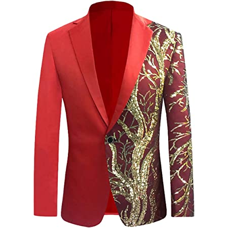 Allthemen Mens Casual Blazer Slim Fit Suits Jacket Floral Printed One Button Dinner Party Wear Coats