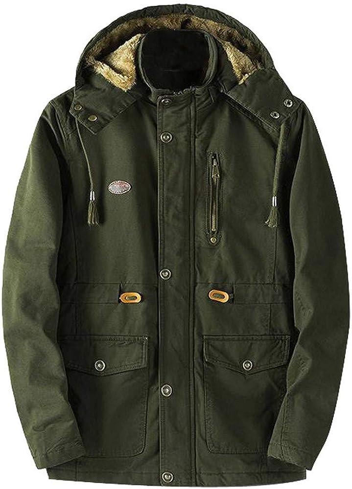 MODOQO Men's Cotton Parka Coat Winter Warm Thick Puffer Zipper Hooded Jacket Outwear