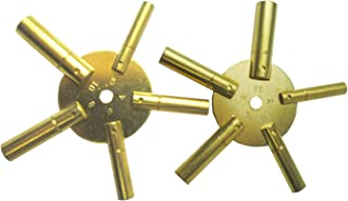 Brass Blessing : 10-Size Solid Brass Clock Winding Keys - 5 Odd & 5 Even Sizes 2 to 11 (5025)
