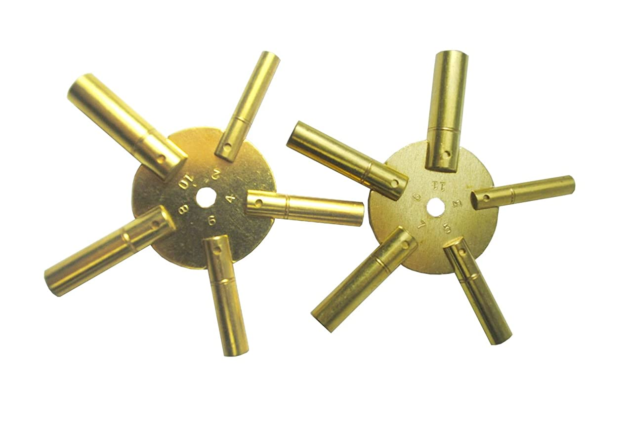 Brass Blessing : 10 Sizes Clock Keys 5 Prong Clock Winding Tools (5025)