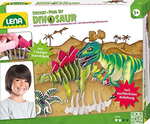 Lena 42644 - Bastelset Steckbausatz Dinos, Komplettbausatz für 2 Dinosaurier mit 7 Steckteilen zum Zusammenbauen von einem T-Rex und einem Stegosaurus, Steckspiel Bausatz für Kinder ab 5 Jahre