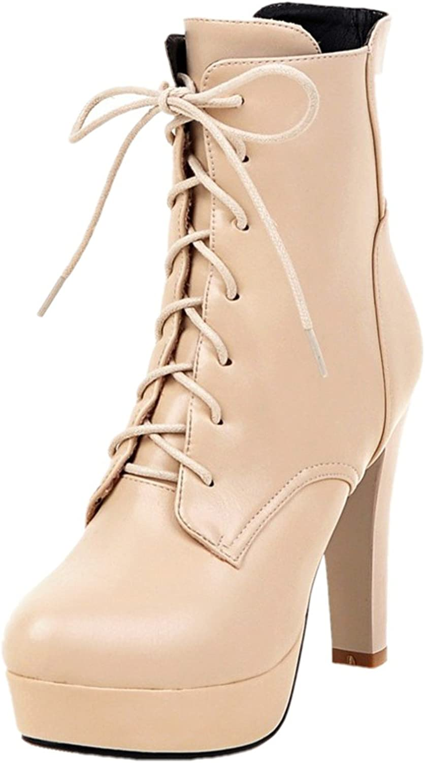 Rongzhi Womens Ankle Boots Platform Thick High Heels Round Toe Lace Up Pumps Party Dress Prom Booties