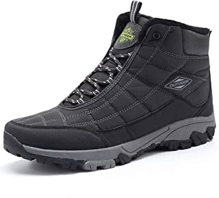 Snow Boots for Men Hiking Shoes Full Fur Lined Non-Slip Water-Resistance Boots Ankle Winter Boots