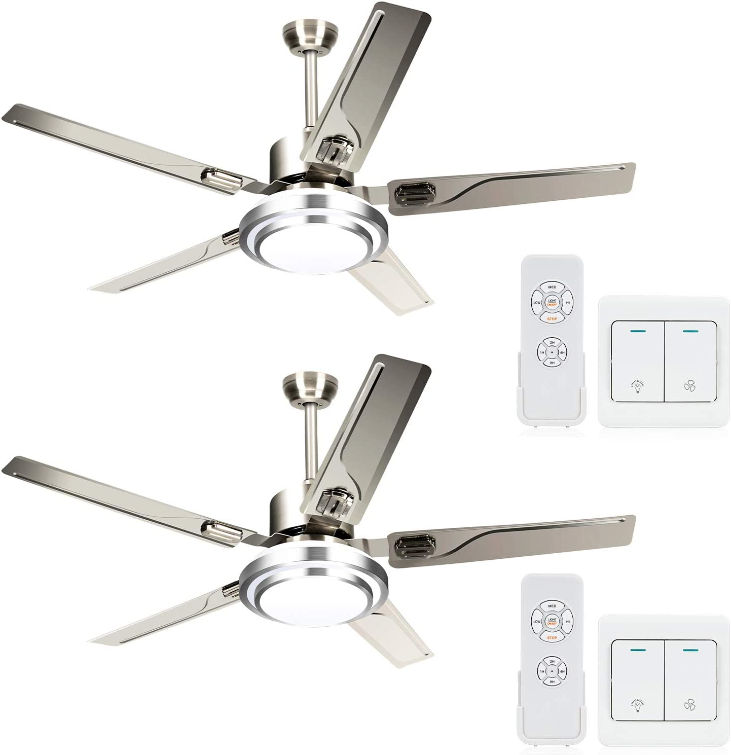 LEDMO 2 Pack sold out Max 88% OFF Stainless Steel Ceiling Re and with Wall fan Lights