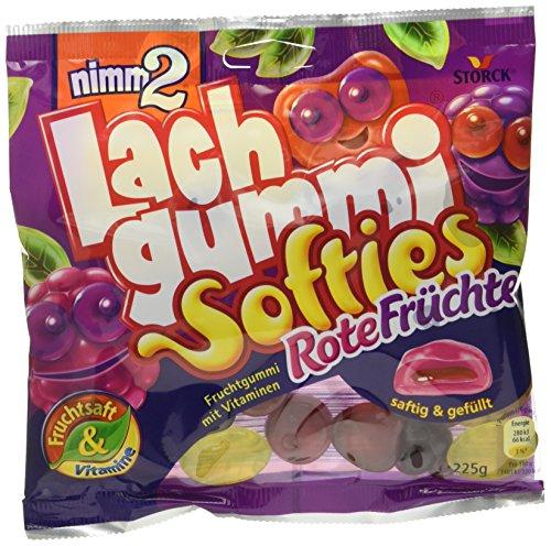 nimm2 Lachgummi Softies Rote Früchte – 15er Pack (15 x 225g Beutel) – Weiche,gefüllte Fruchtgummis mit Vitaminen