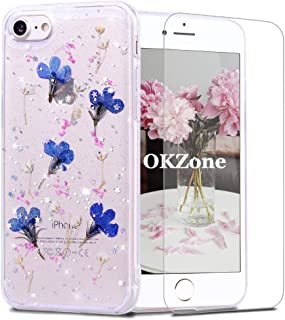 OKZoneFunda iPhone 8 / iPhone 7 (4,7 Pulgadas) [conProtectorPantalla],[FlorEterna]FlorEternaHechoaManoTranspare...