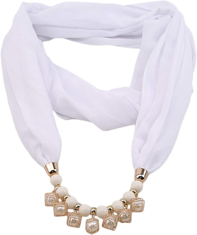 Winwinfly Muslim Hijab Beads Pearls Pendant Scarf Girls Cap Chiffon Necklace Scarf Hats