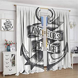 wonderr Sheer Curtains W84 x L72 Inch,Customized Curtains,Anchor,Tattoo Style Navy Symbol Sketch with Ribbon and Vintage Lettering Insignia,Charcoal Grey White