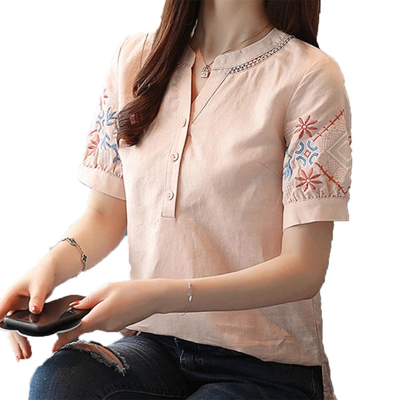 [美しいです] 夏 レディーズ オリジナル 大きなサイズ 新着 半袖 五分袖 シャツ レジャー ゆったり カジュアル デザイン クルーネック 女性 プリント 花柄 刺繍 ボタン