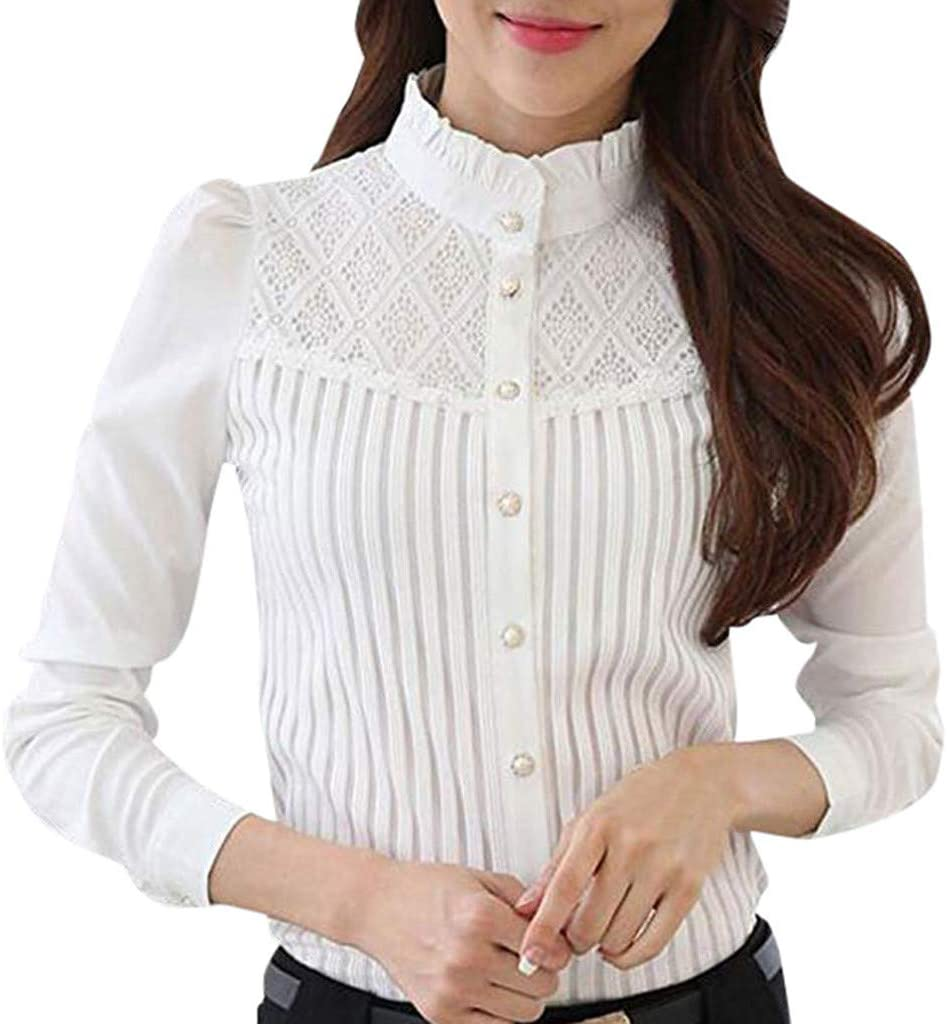 Femmes Dentelle Slim Fit Péplum Haut Chemisier Floral T-Shirt Manches Longues