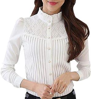 TIFIY T-Shirt per Donna, Vintage Colletto in Chiffon con Bottoni pieghettati Camicia in Pizzo a Maniche Lunghe Magliette D...