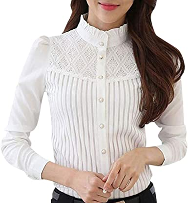 Camisa de Mujer,riou Camiseta de pie con Encaje Camisa de Gasa de Manga Larga y Delgada Casual Oficina Elegantes T Shirt Blusa Sexy Botón Señoras Tops ...