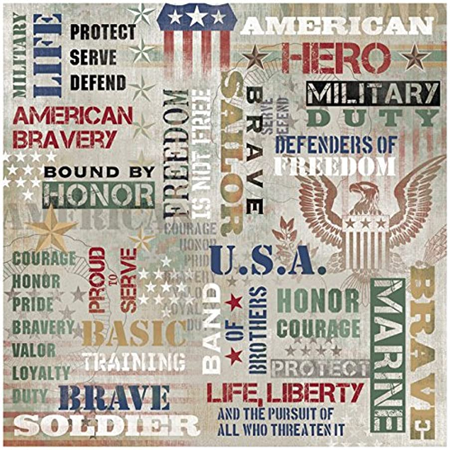 KAREN FOSTER Design Scrapbooking Paper, 25 Sheets, American Hero Collage, 12 x 12