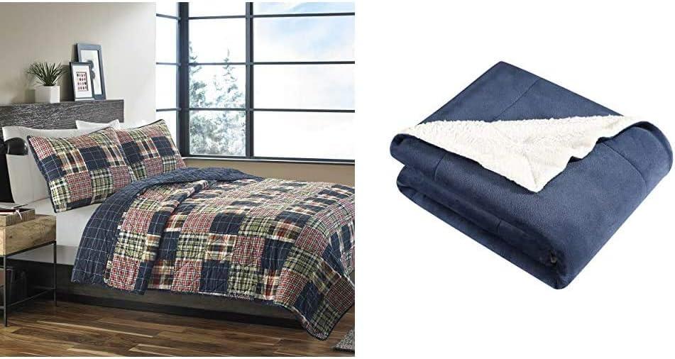 Eddie Bauer Home Madrona Bargain sale 100% Reversible Quilt Ful Cotton Max 49% OFF Set