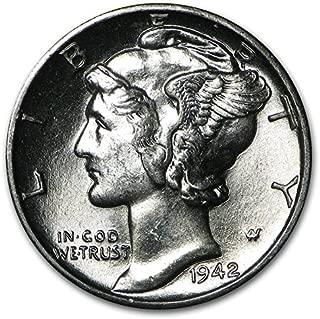 1942 Gem Brilliant Uncirculated Silver Mercury Dime Choice BU