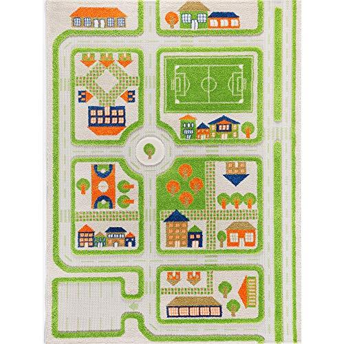 Little Helper 121MD033YE13183 IVI Hypoallergener Dicker 3D-Kinderspielteppich, 134 x 180 cm, grün