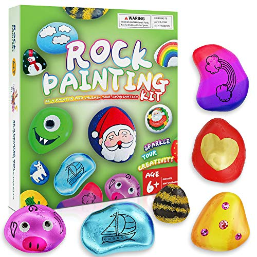 Jazord Rock Painting Kit for Kids - Arts & Crafts Gifts for Boys Girls - Outdoor & Indoor Activities, DIY Hide & Seek Rock Paint Kits for Kids, Great Creative Kit for Age 4 5 6 7 8 9 10