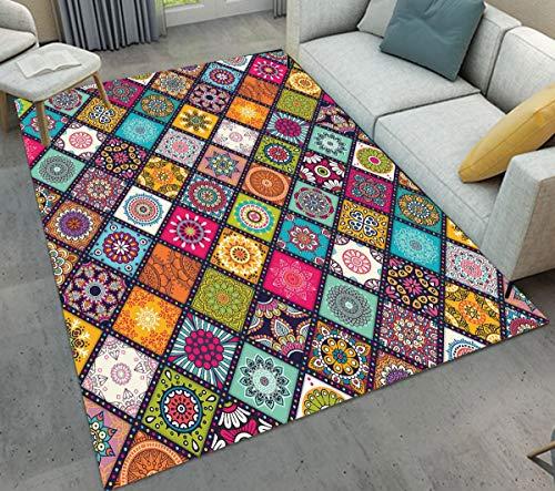 Alfombra de área con fondos coloridos y texturas florales a rayas, patrones geométricos para habitación de bebé, alfombra suave para decoración del hogar, 100 x 150 cm