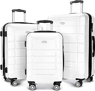 SHOWKOO Luggage Sets Expandable PC+ABS Durable Suitcase Double Wheels TSA Lock White 3pcs