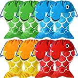 Little Fisherman Drawstring Bags Drawstring Backpack Bags Boys Girls Party Supplies Camping Favors Colorful Fishing Present Party Favor Designs Candy Goody Treat Bags (8 Pieces)